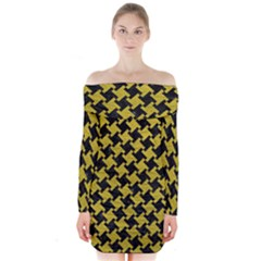 Houndstooth2 Black Marble & Yellow Leather Long Sleeve Off Shoulder Dress