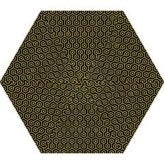 Hexagon1 Black Marble & Yellow Leather (r) Mini Folding Umbrellas