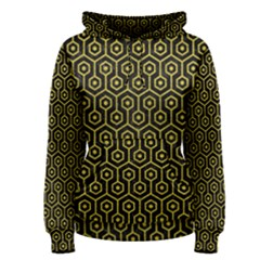 Hexagon1 Black Marble & Yellow Leather (r) Women s Pullover Hoodie