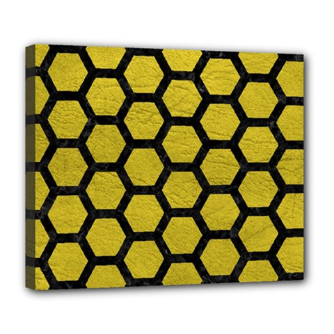 Hexagon2 Black Marble & Yellow Leather Deluxe Canvas 24  X 20