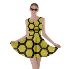 Hexagon2 Black Marble & Yellow Leather Skater Dress