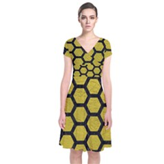 Hexagon2 Black Marble & Yellow Leather Short Sleeve Front Wrap Dress
