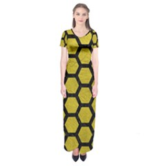 Hexagon2 Black Marble & Yellow Leather Short Sleeve Maxi Dress