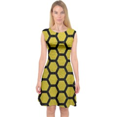 Hexagon2 Black Marble & Yellow Leather Capsleeve Midi Dress
