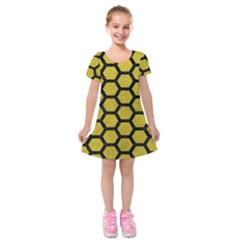 Hexagon2 Black Marble & Yellow Leather Kids  Short Sleeve Velvet Dress