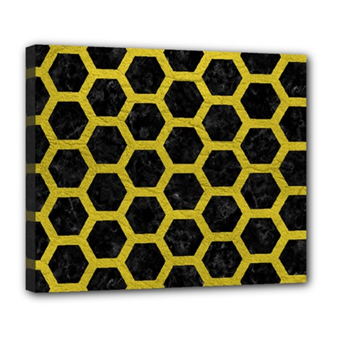 Hexagon2 Black Marble & Yellow Leather (r) Deluxe Canvas 24  X 20
