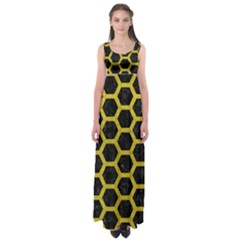 Hexagon2 Black Marble & Yellow Leather (r) Empire Waist Maxi Dress