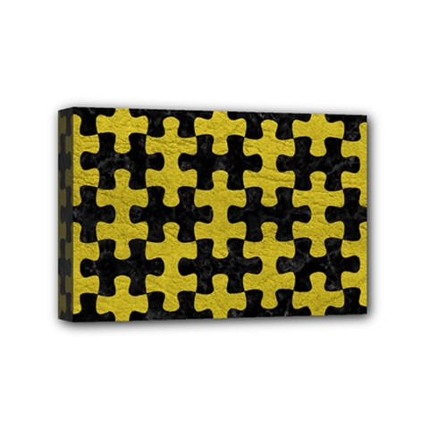 Puzzle1 Black Marble & Yellow Leather Mini Canvas 6  X 4
