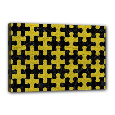 Puzzle1 Black Marble & Yellow Leather Canvas 18  X 12
