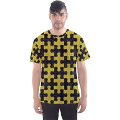 Puzzle1 Black Marble & Yellow Leather Men s Sports Mesh Tee