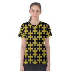 Puzzle1 Black Marble & Yellow Leather Women s Cotton Tee