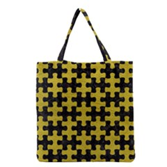 Puzzle1 Black Marble & Yellow Leather Grocery Tote Bag