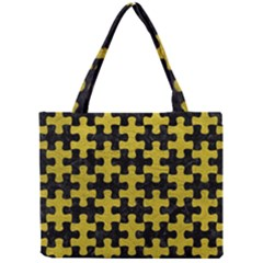 Puzzle1 Black Marble & Yellow Leather Mini Tote Bag