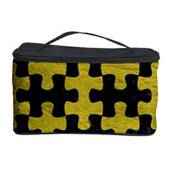 Puzzle1 Black Marble & Yellow Leather Cosmetic Storage Case