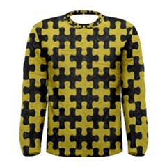 Puzzle1 Black Marble & Yellow Leather Men s Long Sleeve Tee
