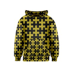 Puzzle1 Black Marble & Yellow Leather Kids  Pullover Hoodie