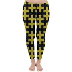 Puzzle1 Black Marble & Yellow Leather Classic Winter Leggings