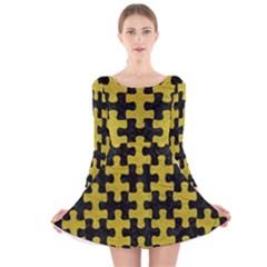 Puzzle1 Black Marble & Yellow Leather Long Sleeve Velvet Skater Dress