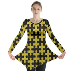 Puzzle1 Black Marble & Yellow Leather Long Sleeve Tunic