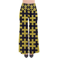 Puzzle1 Black Marble & Yellow Leather Pants