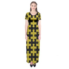 Puzzle1 Black Marble & Yellow Leather Short Sleeve Maxi Dress