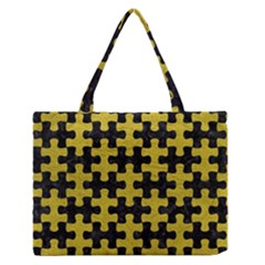 Puzzle1 Black Marble & Yellow Leather Zipper Medium Tote Bag