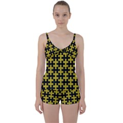 Puzzle1 Black Marble & Yellow Leather Tie Front Two Piece Tankini