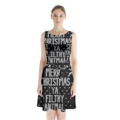 Ugly Christmas Sweater Sleeveless Waist Tie Chiffon Dress