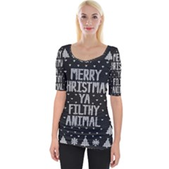 Ugly Christmas Sweater Wide Neckline Tee