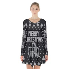 Ugly Christmas Sweater Long Sleeve Velvet V Neck Dress