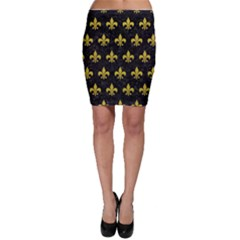 Royal1 Black Marble & Yellow Leather Bodycon Skirt
