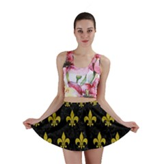 Royal1 Black Marble & Yellow Leather Mini Skirt