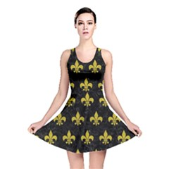 Royal1 Black Marble & Yellow Leather Reversible Skater Dress