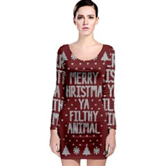 Ugly Christmas Sweater Long Sleeve Bodycon Dress