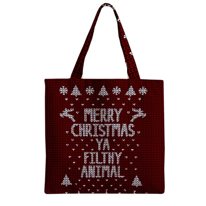 Ugly Christmas Sweater Zipper Grocery Tote Bag