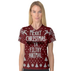 Ugly Christmas Sweater V Neck Sport Mesh Tee