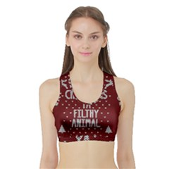 Ugly Christmas Sweater Sports Bra With Border