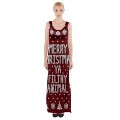 Ugly Christmas Sweater Maxi Thigh Split Dress