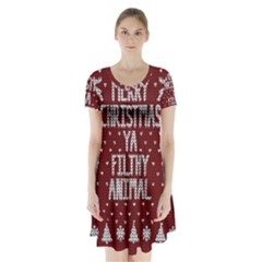 Ugly Christmas Sweater Short Sleeve V Neck Flare Dress