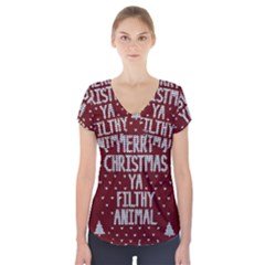 Ugly Christmas Sweater Short Sleeve Front Detail Top