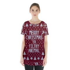 Ugly Christmas Sweater Skirt Hem Sports Top