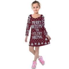 Ugly Christmas Sweater Kids  Long Sleeve Velvet Dress