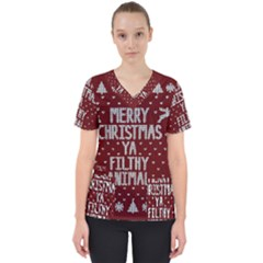 Ugly Christmas Sweater Scrub Top