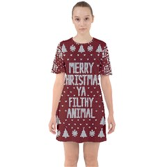 Ugly Christmas Sweater Sixties Short Sleeve Mini Dress