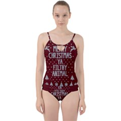 Ugly Christmas Sweater Cut Out Top Tankini Set