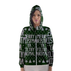 Ugly Christmas Sweater Hooded Wind Breaker (women)