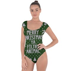 Ugly Christmas Sweater Short Sleeve Leotard