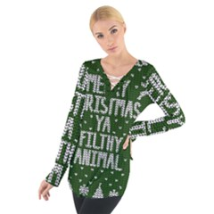 Ugly Christmas Sweater Tie Up Tee