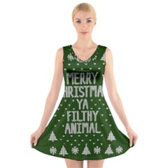 Ugly Christmas Sweater V Neck Sleeveless Skater Dress