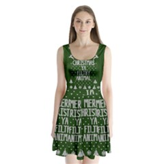 Ugly Christmas Sweater Split Back Mini Dress